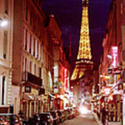 Paris Romantic Night Lights Poster