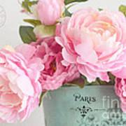 Paris Peonies Shabby Chic Dreamy Pink Peonies Romantic Cottage Chic Paris Peonies Floral Art Poster