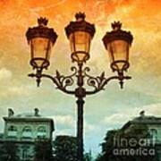 Paris Street Lamps With Textures And Colors Poster