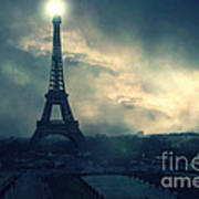 Paris Surreal Eiffel Tower Storm Clouds Sun Setting - Teal Aqua Dark Green Eiffel Tower Landscape Poster