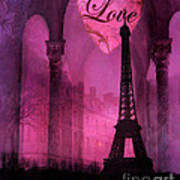 Paris Romantic Pink Fantasy Love Heart - Paris Eiffel Tower Valentine Love Heart Print Home Decor Poster
