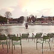 Paris Tuileries Garden Park Fountain Green Chairs - Paris Autumn Fall Tuileries - Autumn In Paris Poster