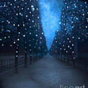 Paris Tuileries Trees - Blue Surreal Fantasy Sparkling Trees - Paris Tuileries Park Poster by Kathy Fornal