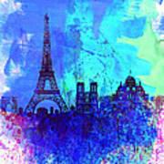 Paris Watercolor Skyline Poster