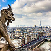 Parisian Gargoyle Admires The Skyline Poster