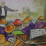 Parisian Hat Band Across From Notre Dame Cathedral Poster