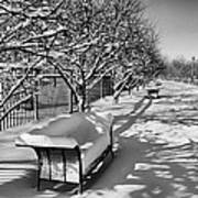 Park Benches Snow Upholstered Poster