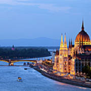 Parliament Building In Budapest At Evening Poster