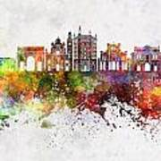 Parma Skyline In Watercolor Background Poster