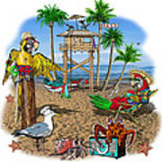 Parrot Beach Party Poster