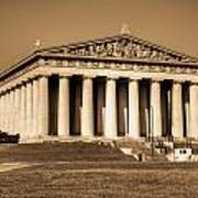 Parthenon In Sepia 3 Poster