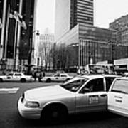 Passenger Gets Out Of Rear Door Of Yellow Taxi Cab On 7th Avenue New York City Usa Poster