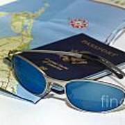Passport Sunglasses And Map Poster by Amy Cicconi