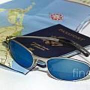 Passport Sunglasses And Map Poster