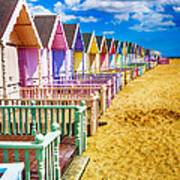 Pastel Beach Huts 2 Poster