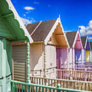 Pastel Beach Huts 3 Poster