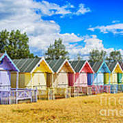 Pastel Beach Huts Poster by Chris Thaxter