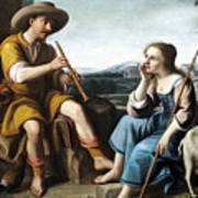 Pastoral Scene With A Shepherd Family Against A Countryside Background Poster