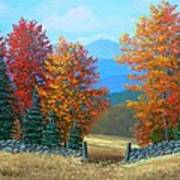 Pasture Gate In Autumn Poster