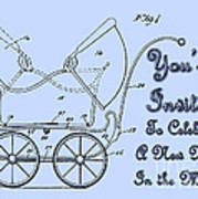 Patent Art Robinson Baby Carriage Invite-blue Poster