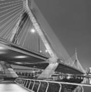 Path To The Leonard P. Zakim Bridge Bw Poster