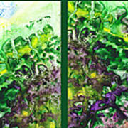 Path To The Unknown Diptych In Green Poster