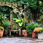 Patio Garden In The Rain Poster