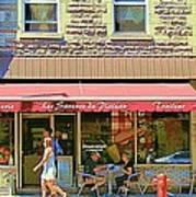 Patisserie Les Saveurs Du Plateau Pique Nique Et Emporter Montreal Cafe Scene Art By Carole Spandau  Poster