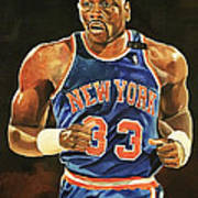 Patrick Ewing New York Knicks Poster by Michael  Pattison