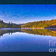 Patterson Lake Fall Morning Abstract Landscape Painting Poster