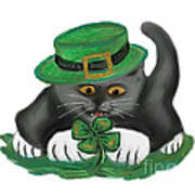 Patty The Grey Kitten Loves Four Leaf Clovers Poster