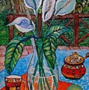Peace Lilies On The Patio Poster