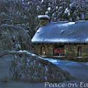Peace On Earth Holiday Card Moonlight On Stone House.  Poster