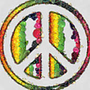 Peace Sign Fruits And Vegetables Poster
