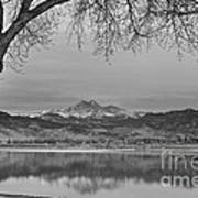 Peaceful Early Morning First Light Longs Peak View Bw Poster
