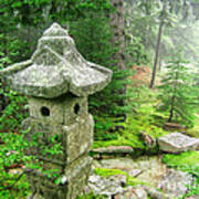 Peaceful Japanese Garden On Mount Desert Island Poster by Edward Fielding