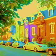 Peaceful Painted Pastel Rowhouses Printemps Plateau Montreal Scene Du Rue Carole Spandau Poster