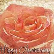Peach Rose Anniversary Card Poster