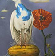 Peacock On A Papaya Poster
