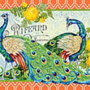 Peacocks In The Rose Garden Poster