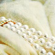 Pearls On White Velvet Poster