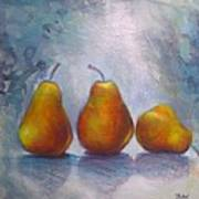 Pears On Blue Original Acrylic Painting Poster