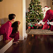 Peeking At Santa Poster