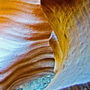 Peeking At Treasure In Lower Antelope Canyon In Lake Powell Navajo Tribal Park-arizona   Poster