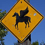 Pegasus Road Sign Poster