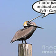 Pelican Miss You Card Poster