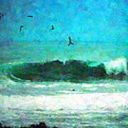 Pelicans Enjoying The Mighty Pacific Impressionism Poster