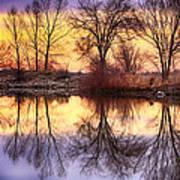 Pella Crossing Sunrise Reflections Hdr Poster