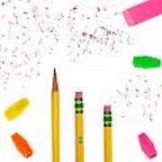 Pencils And Erasers Poster