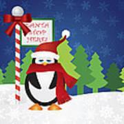 Penguin At Santa Stop Here Sign Poster